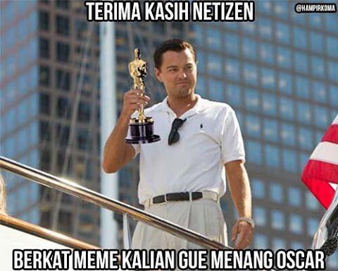 Foto Meme Lucu Leonardo Di Caprio Raih Piala Oscar
