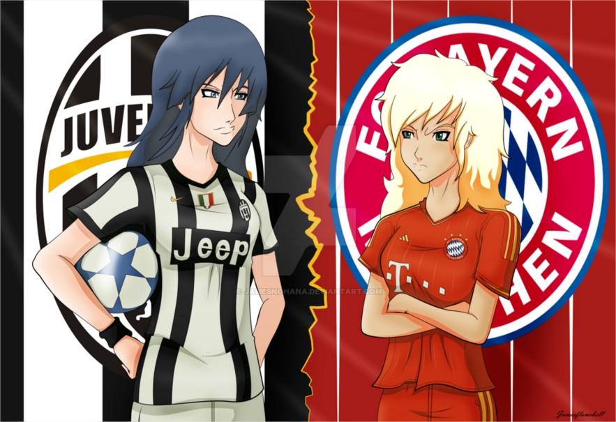 DP BBM Pertandingan Juventus Vs Bayern Munchen Versi Anime
